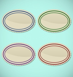 Set of vintage oval stamps vector