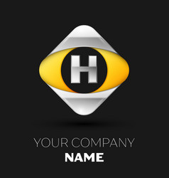 silver letter h logo in the silver-yellow square vector image