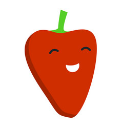 smile red pepper icon flat style vector image