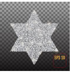Star of david silver symbol on a transparent vector