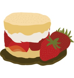 Strawberry and cream shortcake vector