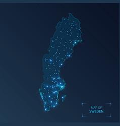 sweden map with cities luminous dots - neon vector image