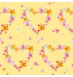 Tropical Hearts Flowers Background vector