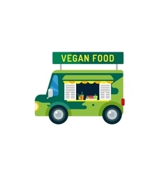 Vegan city food car van icon vector