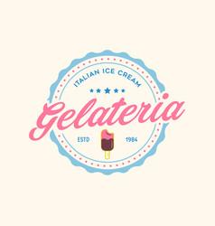 Vintage ice cream shop logo badge and label vector
