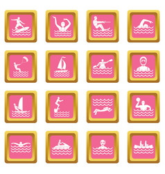 water sport icons pink vector image