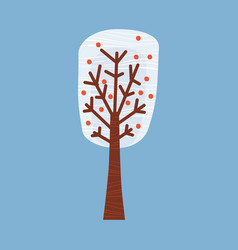 Winter tree decorate stylized snow naked vector
