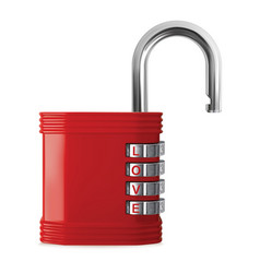 word love opens the red padlock realistic 3d vector image