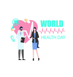 world health day woman patient with man doctor vector image
