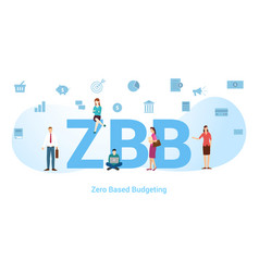 zbb zero based budgeting concept with big word or vector image