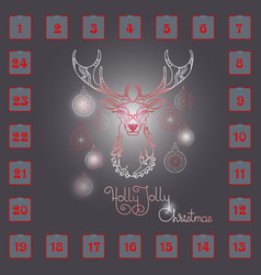 christmas advent calendar with hand drawn dee vector image