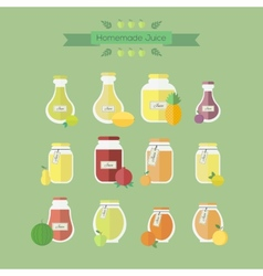 Collection of jars with juice objects in vector image