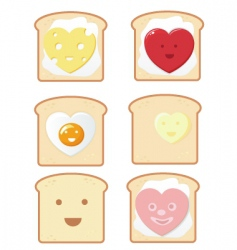 comic toast icons vector image