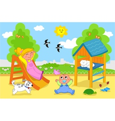 Cute children at the playground in spring vector image vector image
