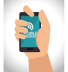 hand holds mobile design connection internet vector image