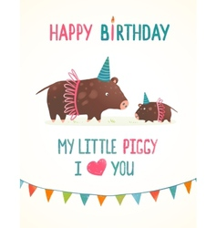 Little Piggy and Mother Birthday Greeting Card vector image vector image