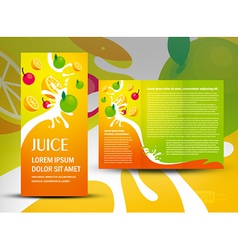 brochure folder juice fruit drops liquid orange vector image vector image