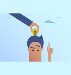 Business man hand put light bulb in head new idea vector