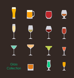 color wine glasses set vector image vector image