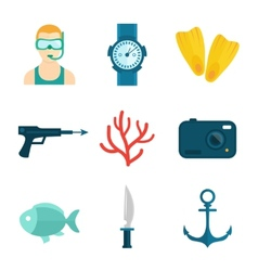 Diving icons flat vector image