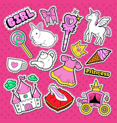 little princess stickers badges and patches vector image