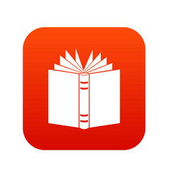 open thick book icon digital red vector image