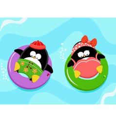Penguins Enjoying Water vector image vector image