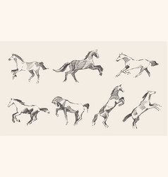 set hand drawn horses sketch vector image vector image