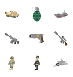 Army weapons icons set cartoon style vector image vector image