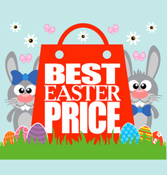 Best easter price funny rabbits vector