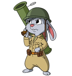 Cartoon bunny with bazooka on the white vector image vector image