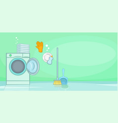Cleaning horizontal banner shine cartoon style vector