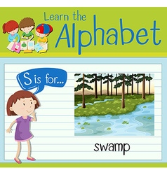 Flashcard letter S is for swamp vector image vector image