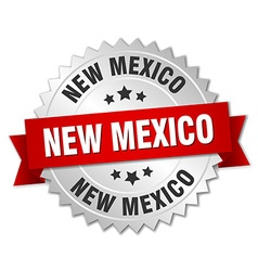 New Mexico round silver badge with red ribbon vector image vector image