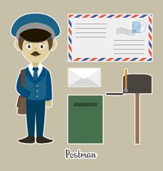 official postman in uniform vector image vector image