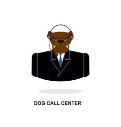 Doggy call Center Dog with headset Pet in costume vector image vector image