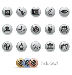 Education Icons MetalRound Series vector image