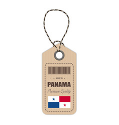 hang tag made in panama with flag icon isolated on vector image