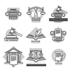 law company logotypes set in grey color on white vector image