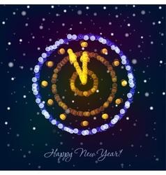 New Year clock in bokeh lights vector image