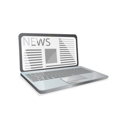 news paper on laptop screen vector image