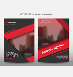red abstract annual report brochure design vector image vector image