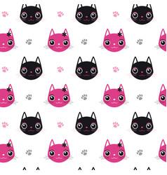 Seamless pattern face cat vector