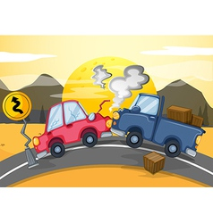 Two cars bumping in the middle of the road vector image