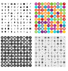 100 medical exhibition icons set variant vector