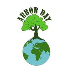 Arbor day planted trees vector