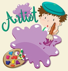 Artist with paints and paintbrush vector