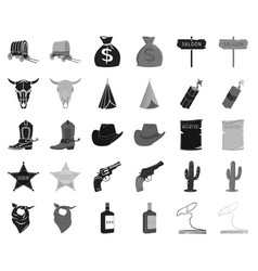 attributes of the wild west blackmonochrome icons vector image