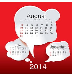 August 2014 bubble speech calendar vector