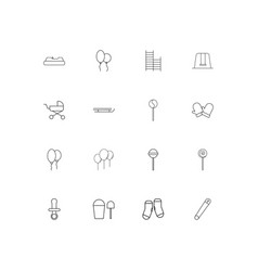 baby kid and newborn simple linear icons set vector image